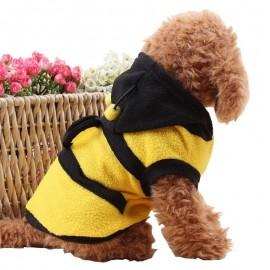 Manteau à capuche abeille pour chien vue coté