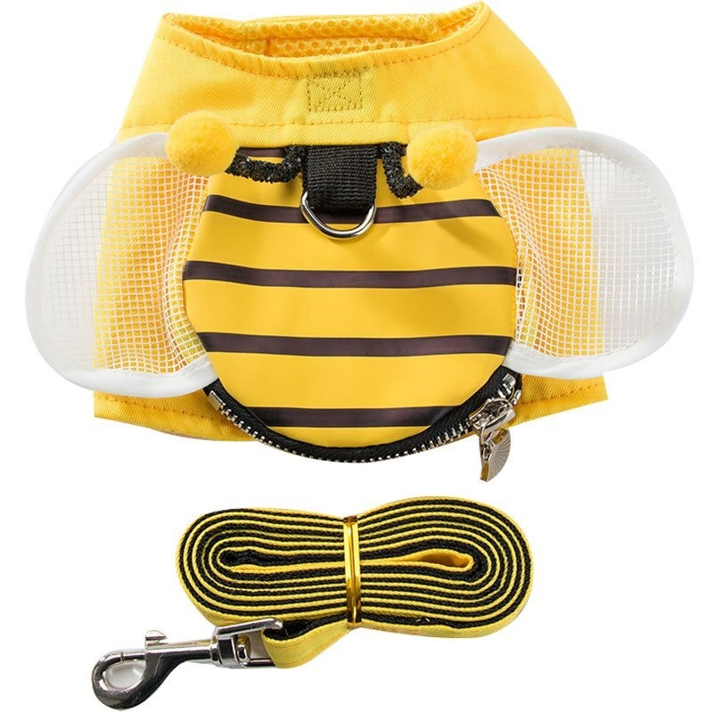 Gilet abeille harnais avec laisse pour chien détails