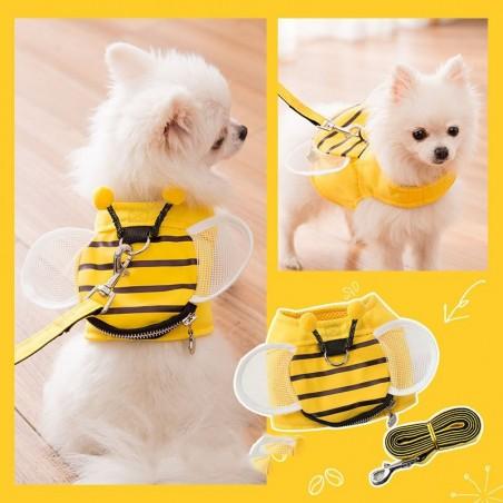 Gilet abeille harnais avec laisse pour chien