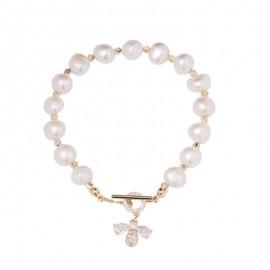 Bracelet en perle naturelle femme avec abeille en Zircon