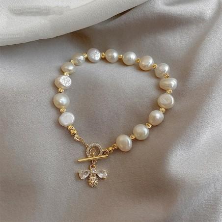 Bracelet en perle naturelle pour femme avec abeille en Zircon