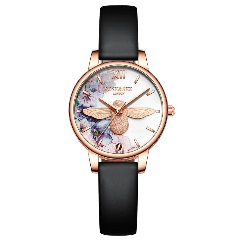 Magnifique montre Abeille pour femmes - Quartz japonais - bracelet cuir noir