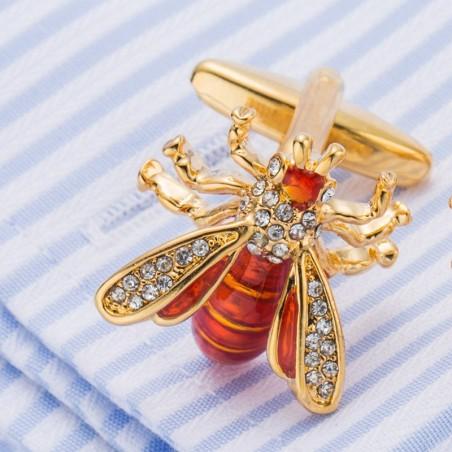 Boutons de manchette de chemise abeille en métal et cuivre