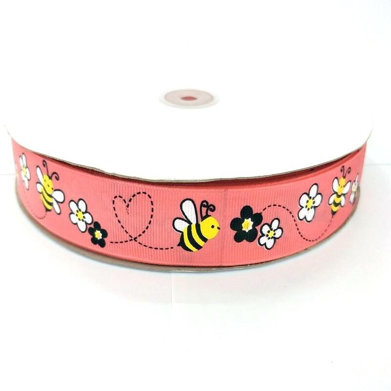 Ruban gros-grain avec imprimé abeille - 25mm - 5 mètres rose