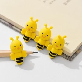 lot de 4 Gommes à crayon petite abeille jaune