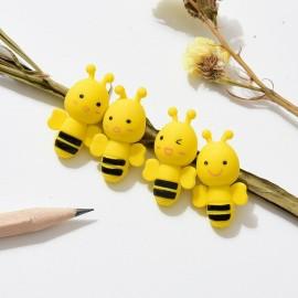 Magnifiques Gommes à crayon petite abeille jaune lot de 4