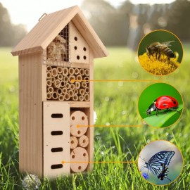 Maison en bois nid naturel pour abeille, coccinelles, papillons